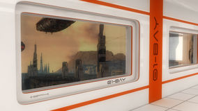 Futuristic window and scifi city Stock Photography