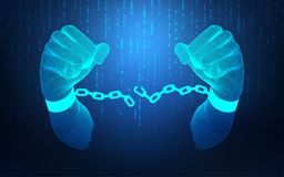 Electronic Board. Futuristic wireframe hands unchain, concept of technology revolution Royalty Free Stock Photography