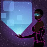 Futuristic woman with a blue holographic display Royalty Free Stock Images