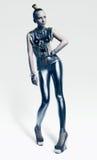 Futuristic woman in cold silver costume Stock Photo