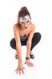Futuristic woman crawling Royalty Free Stock Photos