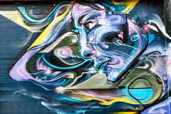 Futuristic Woman Graffiti Design, London UK Stock Photo