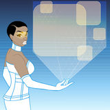 Futuristic woman with a orange holographic display Stock Images