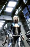 Futuristic woman in spaceship corridor Stock Photo