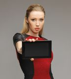 Futuristic woman with tablet pc Stock Photography
