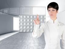 Futuristic woman touch finger copyspace Stock Photos