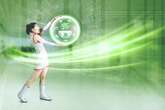 Futuristic woman with a virtual earth graphic Royalty Free Stock Photos