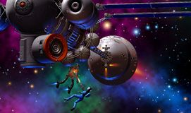 Futuristic woman warrior fighting with a robot, armed with gun, near a big spaceship, 3d illustration. Astronaut, spacewoman, in the background colored nebula vector illustration