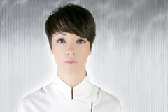 Futuristic woman white silver portrait Royalty Free Stock Images