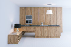 Futuristic wooden kitchen interior design with white flooring 3d Stock Image