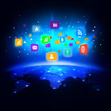 Futuristic world with colorful media network symbol Royalty Free Stock Photography