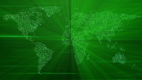 Futuristic world map and lights in motion, loop HD 1080p stock video footage