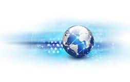Futuristic world network communication and technology background Royalty Free Stock Photo