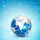 Futuristic world network communication and technology concept Royalty Free Stock Photo