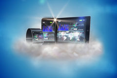 Futuristic wrist watch with tablet and smartphone on cloud Stock Photo