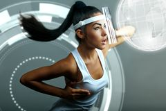 Futuristic young brunette woman Stock Photography