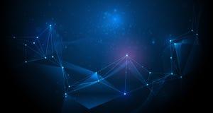 Futuristico astratto, tecnologia della molecola con il modello poligonale Fotografie Stock Libere da Diritti