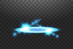 Futuristico teletrasporti Portale magico di fantasia Effetto della luce Candele blu di raggi di una scena di notte con le scintil illustrazione di stock