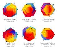 Futuristisch abstract kleurrijk vectorembleem en affichemalplaatje Innovatieve het effect van het technologieën digitale ontwerp  stock illustratie