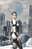 Futuristisch astronautenmeisje op een vreemde planeet Stock Afbeelding