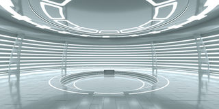 Futuristisch binnenland met leeg gloeiend podium stock foto's