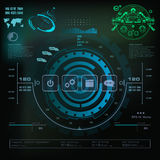 Futuristisch blauw virtueel grafisch aanrakingsgebruikersinterface, Muziekinterface, sporen, volumecontroles Royalty-vrije Stock Foto's