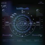 Futuristisch blauw virtueel grafisch aanrakingsgebruikersinterface, Muziekinterface, sporen, volumecontroles Royalty-vrije Stock Afbeelding