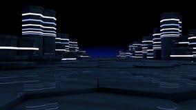 Futuristisch concept serverruimte in datacenter Grote gegevensopslag, serverrekken met neonlichten op zwarte achtergrond royalty-vrije illustratie
