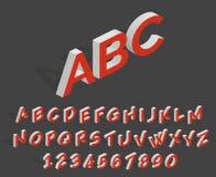 Futuristisch 3d vectoralfabet Geometrische isometrische Latijnse letters en getallen Stock Fotografie