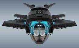 Futuristisch die ruimtevaartuig bij het grijze 3D teruggeven wordt geïsoleerd als achtergrond vector illustratie