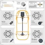 Futuristisch gebruikersinterface Abstract virtueel grafisch aanrakingsgebruikersinterface Infographic auto's Vectorwetenschapssam royalty-vrije illustratie
