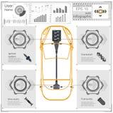 Futuristisch gebruikersinterface Abstract virtueel grafisch aanrakingsgebruikersinterface Infographic auto's Vectorwetenschapssam vector illustratie