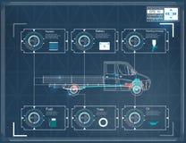 Futuristisch gebruikersinterface HUD UI Abstract virtueel grafisch aanrakingsgebruikersinterface Infographic auto's Vrachtwagenre royalty-vrije illustratie