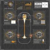 Futuristisch gebruikersinterface HUD UI Abstract virtueel grafisch aanrakingsgebruikersinterface Infographic auto's Vectorwetensc Royalty-vrije Stock Foto