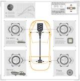 Futuristisch gebruikersinterface HUD UI Abstract virtueel grafisch aanrakingsgebruikersinterface Infographic auto's Vectorwetensc royalty-vrije illustratie