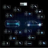 Futuristisch gebruikersinterface HUD UI Abstract virtueel grafisch aanrakingsgebruikersinterface Infographic auto's Kenmerkende a stock illustratie