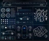 Futuristisch gebruikersinterface Infographics van vrachtvervoer en vervoer Malplaatje van automobiele infographics Stock Foto's
