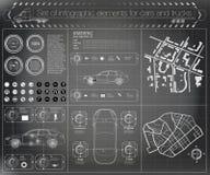 Futuristisch gebruikersinterface Infographics van vrachtvervoer en vervoer Malplaatje van automobiele infographics Samenvatting v vector illustratie