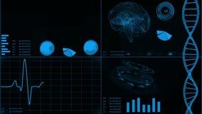 Futuristisch gebruikersinterface met van het hartaftasten en elektrocardiogram illustraties, hersenenaftasten, DNA Abstracte virt royalty-vrije illustratie
