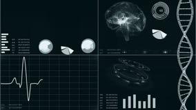 Futuristisch gebruikersinterface met van het hartaftasten en elektrocardiogram illustraties, hersenenaftasten, DNA Abstracte virt stock video