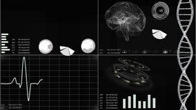 Futuristisch gebruikersinterface met van het hartaftasten en elektrocardiogram illustraties, hersenenaftasten, DNA Abstracte virt stock footage