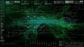 Futuristisch GebruikersinterfaceHoofd op de Achtergrond van het Vertoningsscherm Stock Fotografie