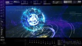 Futuristisch GebruikersinterfaceHoofd op de Achtergrond van het Vertoningsscherm Stock Foto's