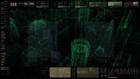 Futuristisch GebruikersinterfaceHoofd op de Achtergrond van het Vertoningsscherm Stock Afbeeldingen