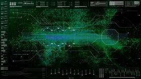 Futuristisch GebruikersinterfaceHoofd op de Achtergrond van het Vertoningsscherm Stock Foto