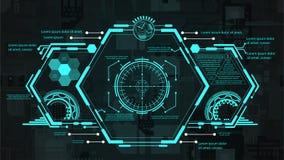 Futuristisch interface hud ontwerp Vector illustratie voor uw zoet water design De achtergrond van de technologie stock foto
