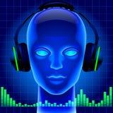 Futuristisch kunstmatig hoofd in blauw licht met hoofdtelefoons en gre Royalty-vrije Stock Fotografie