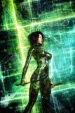 Futuristisch meisje cyberpunk vector illustratie