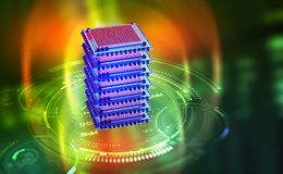 Futuristisch mijnbouwlandbouwbedrijf Big Data-analyticsplatform Quantumbewerker in het mondiale computernet vector illustratie