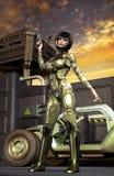 Futuristisch militairmeisje Stock Afbeelding